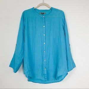 Flax Linen Button Down Shirt Turquoise P 4 6